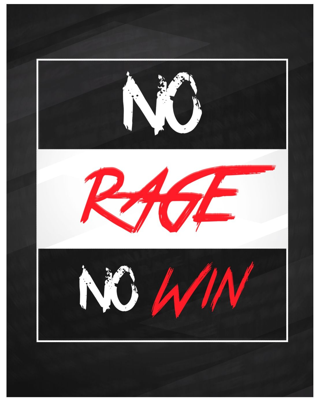 Placa NO RAGE NO WIN 18x23cm